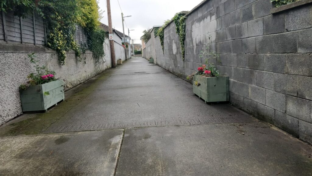 The lane with new planters